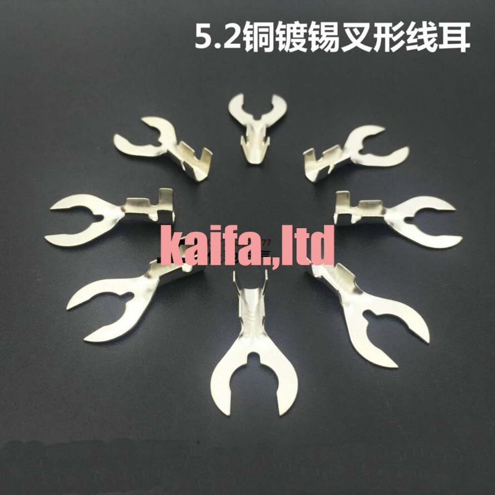 100pcs/lot  5.2 type C feet  fork cold terminal crab legs shape connector Brass plated tin surface treatment terminals,2.5-4mm2
