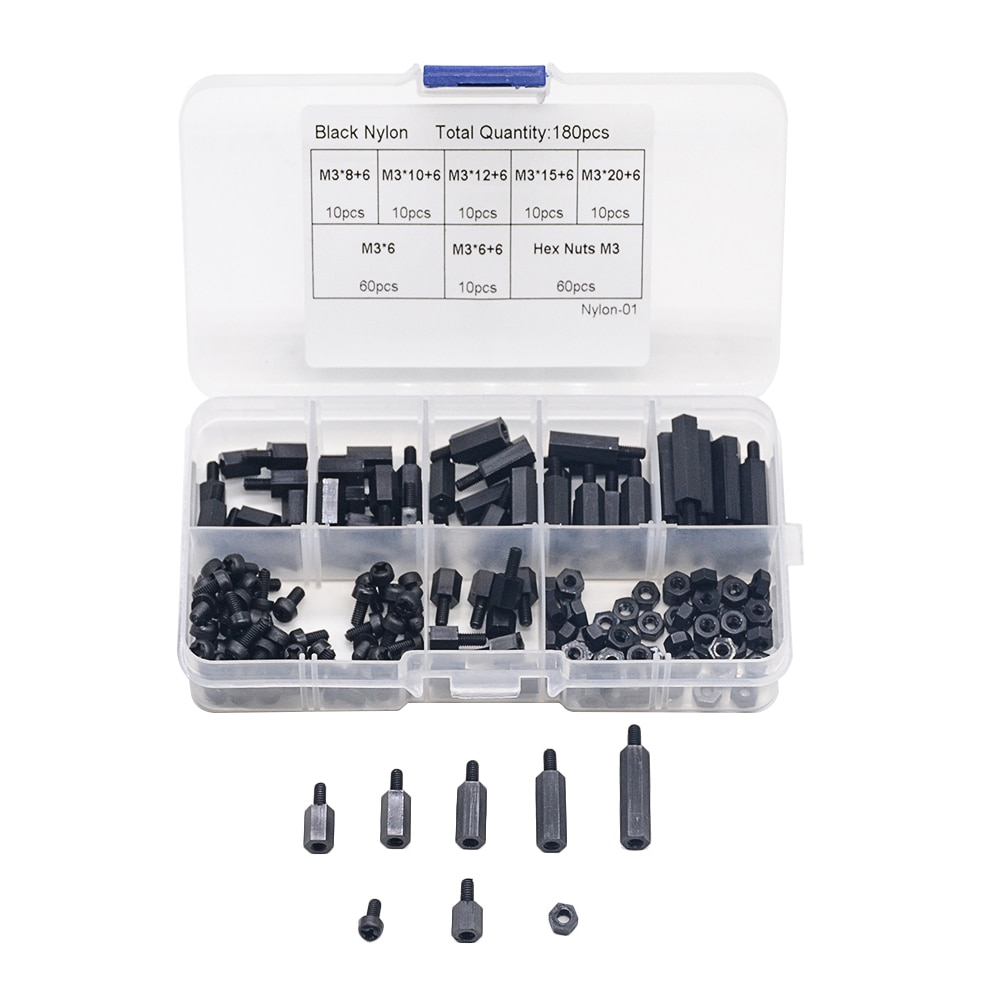 180PCS Black M3 Nylon Hex Spacers Male-Female Screws Nuts Stand-off Kit  For Electronics PC Board