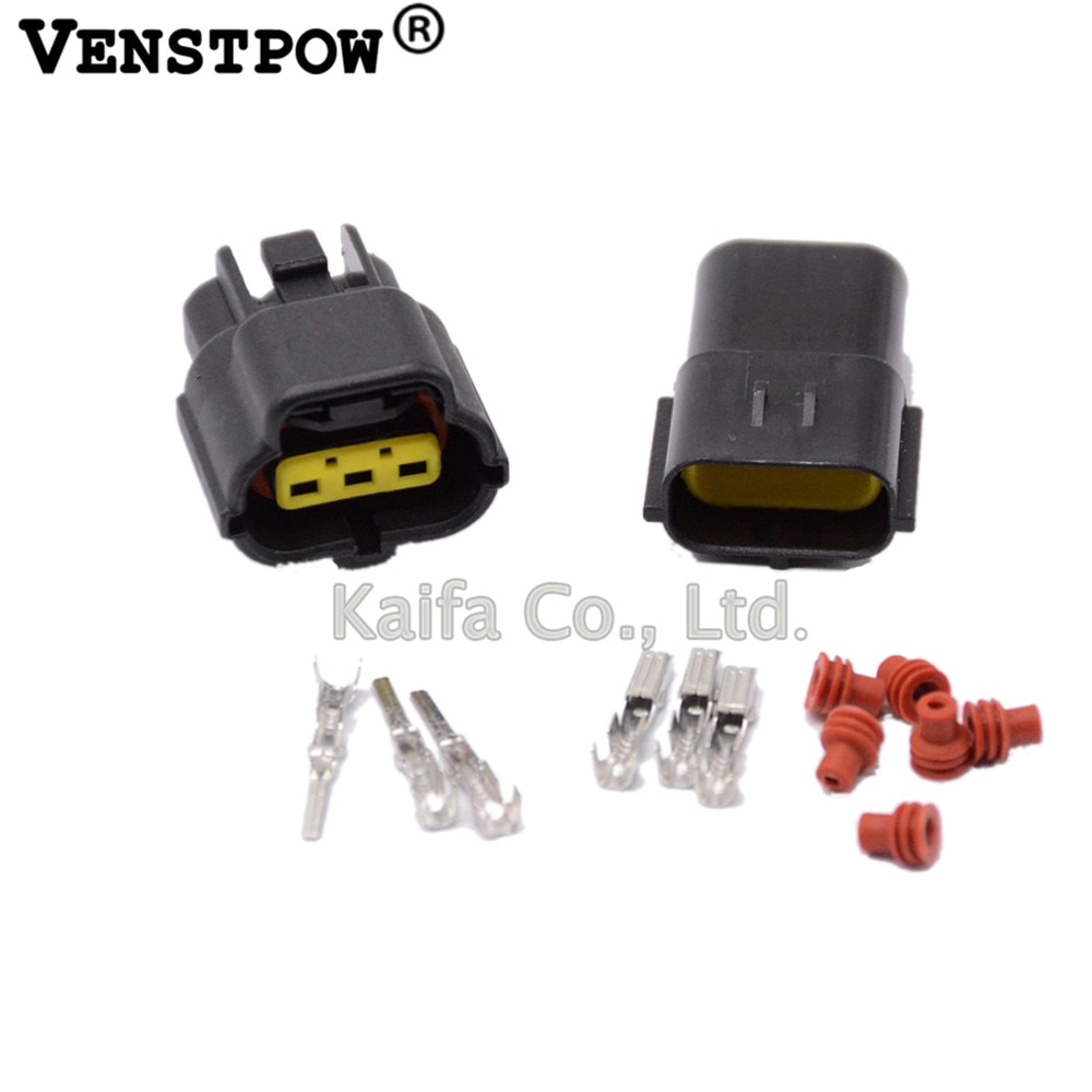 50 set 3 Pin Way Waterproof Wire Connector Plug Car Auto Sealed Electrical Set Car Truck connectors