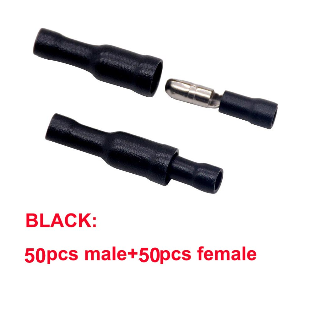 100pcs BLACK Male Female Bullet Connector Insulating Joint Crimp Terminals Wiring Cable Eletric Plug Adapter FRD MPD 1.25-156