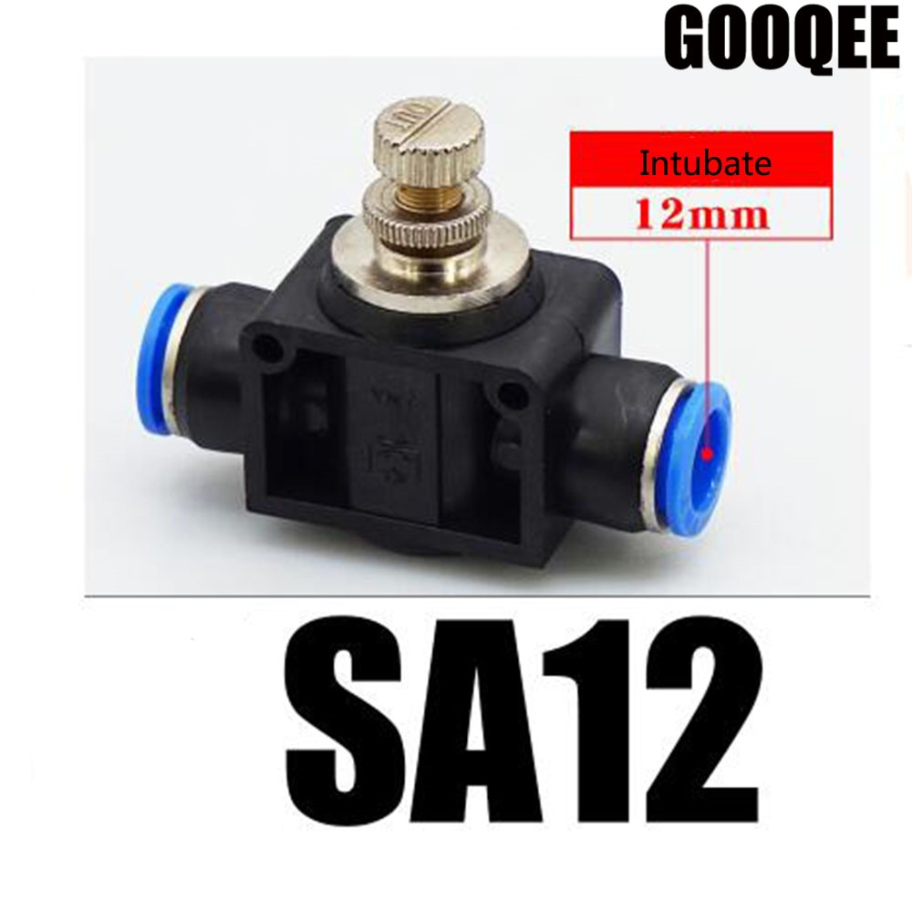 3PCS Inline Airflow Control SA 12mm x 12mm Push In Quick Connecter 2-Way Flow Limiting Pneumatic Valve Speed Controller