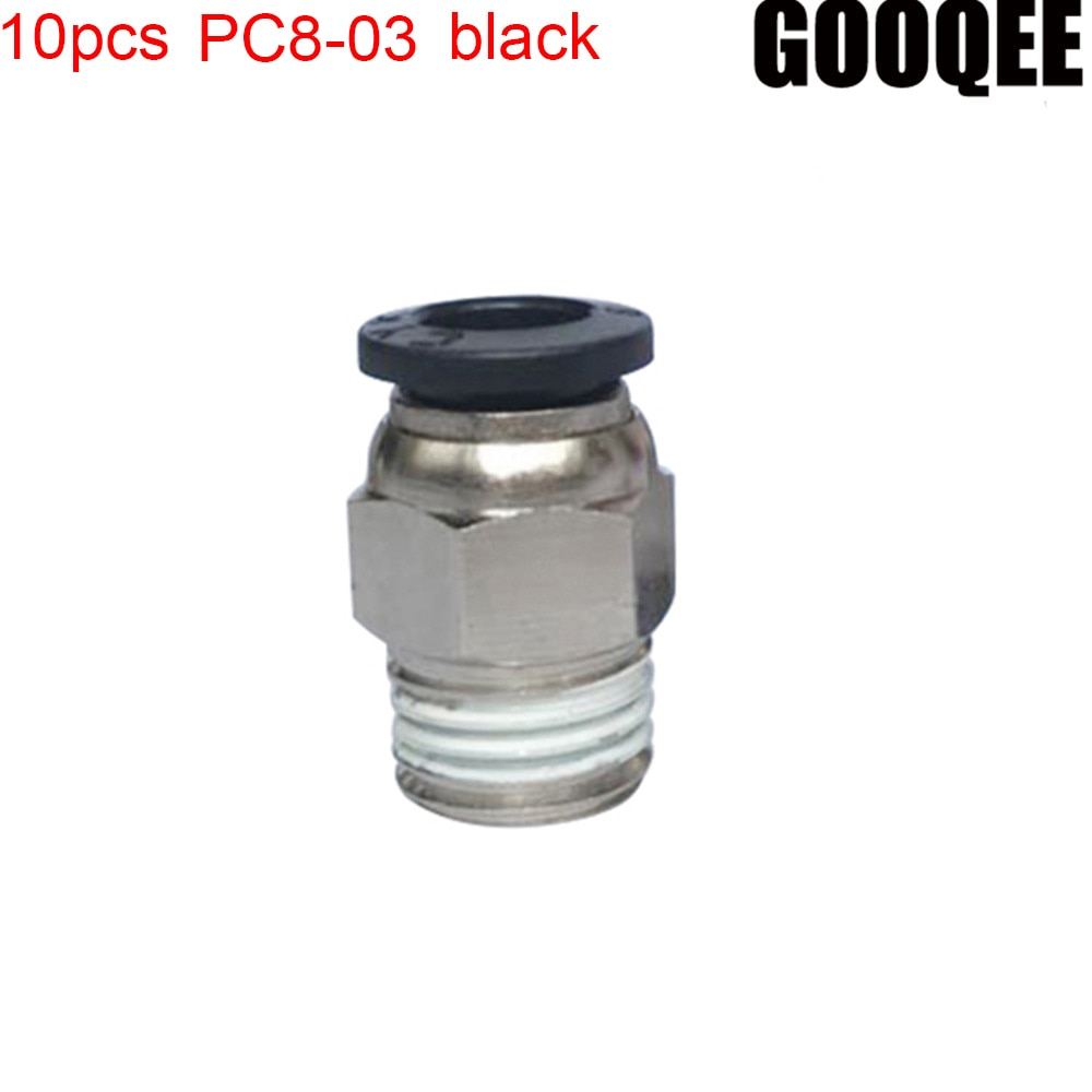 10PCS/lots PC8-03 black 3/8  PT Male Thread To 8mm Push In Joint Pneumatic Connector Quick Fittings