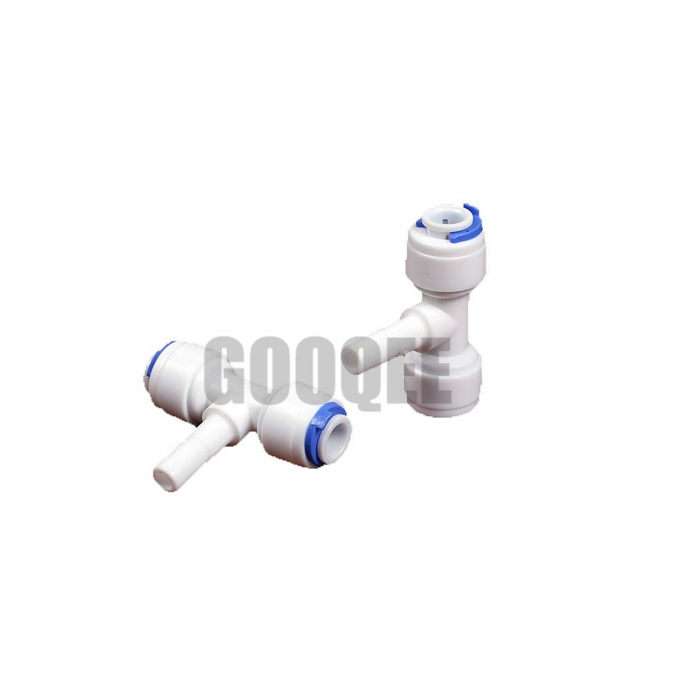 Reverse Osmosis Aquarium System Coupling TShape Quick Fitting 1/4 OD Hose Equal Connection RO Water Plastic Pipe Quick Connector