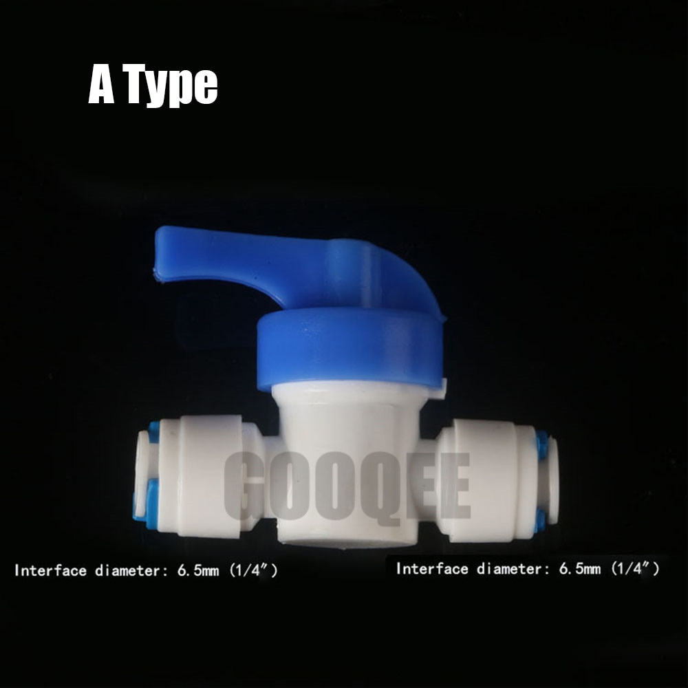 RO Ball Valve Water Reveser Osmosis Aquarium System Fittings 1/4 or 3/8  OD ( 2 Different size) Equal Quick Connection