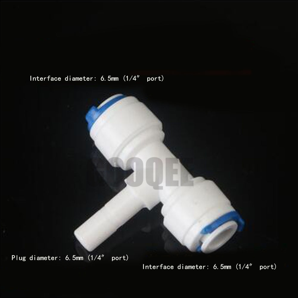 Reverse Osmosis Aquarium System Coupling T Shape Tee 1/4  OD Hose To 1/4  Pipe RO Water Plastic Pipe Fitting Quick Connector