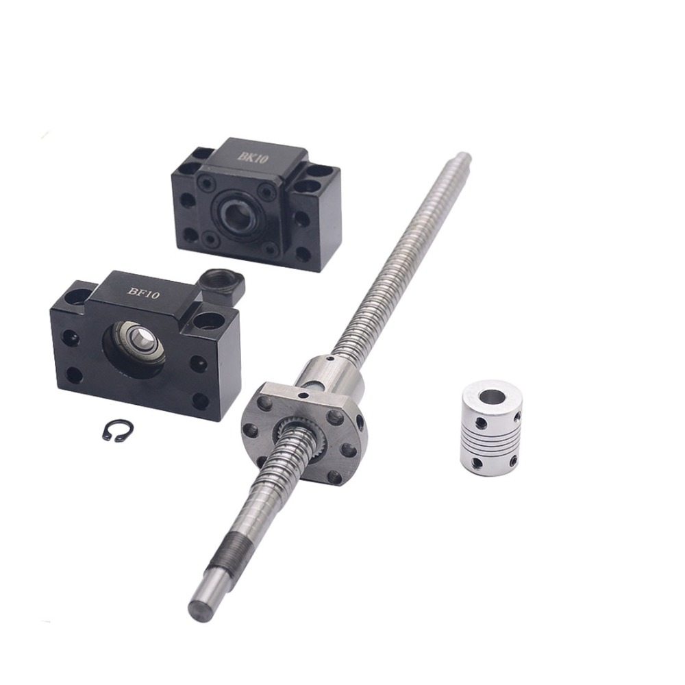 SFU1204 set:SFU1204 L-500mm rolled ball screw C7 with end machined + 1204 ball nut + BK/BF10 end support + coupler for CNC parts