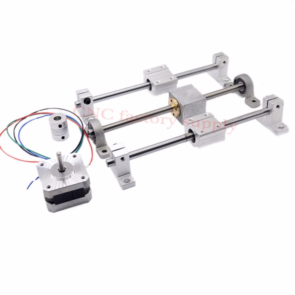 3D Printer guide rail sets T8 Lead screw length 400mm + linear shaft 8*400mm+KP08 SK8 SC8UU+ nut housing +coupling + step motor