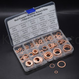 150PCS Copper Washer Gasket Nut and Bolt Set Flat Ring Seal Assortment Kit M5 M6 M8 M10 M12 M14 M16 M18 M20 for Sump Plugs Water