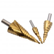 3pcsHss Drill Bit Step Cutter Set Titanium Cone Hole 4-12 4-20 4-32mm Spiral Flute 1/4 Hex Shank Step Cone Drill Hole Cutter Bit