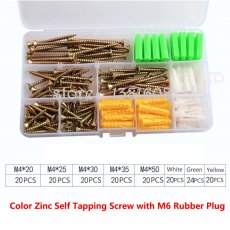 1SET Color Zinc Self Tapping Screw Combination Kit with M6 Yellow Green White Rubber Plug Box Expansion Screw Set
