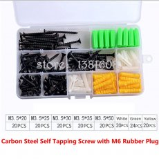 1SET Carbon Self Tapping Screw Combination Kit with M6 Yellow Green White Rubber Plug Box Expansion Screw Set