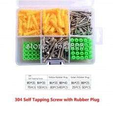 1SET 304 Stainless Steel Self-tapping Screw Combination Kit with Yellow Green White Rubber Plug Big Box Expansion Screw Set