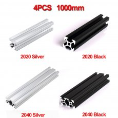 4pcs/lot Waterproof 1000mm 2020 2040 Aluminum Extrusion Profile, Silver or Black Color