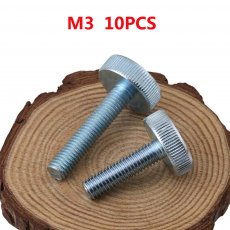 10PCS GB835 M3x30mm Length 5 6 8 10 12 14 16 18 20 25 30 mm Knurling Flat Head Knurled Thumb Screw Hand Tighten Computer Screws