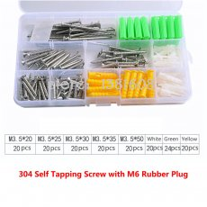1SET 304 Stainless Steel Self-tapping Screw Combination Kit with M6 Yellow Green White Rubber Plug Box Expansion Screw Set