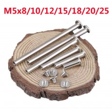 50PCS M5x8/10/12/15/18/20/25 Nickel Plated Butt Rivets Carbon Steel Screws for Picture Book Recipes Albums