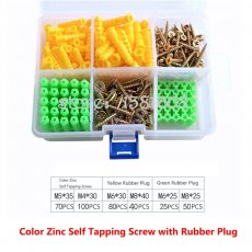 1SET Color Zinc Flat Phillips Self Tapping Screw Combination Kit with Yellow Green White Rubber Plug Big Box Expansion Screw Set