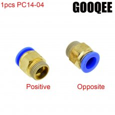 1PCS PC14-04 1/2 BSPT 20.5mm male thread To 14mm OD tube in Joint Pneumatic Air Tubing Push to Thread Quick Fittings