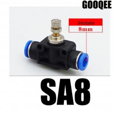3PCS Inline Airflow Control SA 8mm x 8mm Push In Quick Connecter 2-Way Flow Limiting Pneumatic Valve Speed Controller