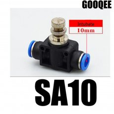 2 Pcs LSA-10 Inline Airflow Control 10mm x 10mm Push In Quick Connecter 2-Way Flow Limiting Pneumatic Valve Speed Controller