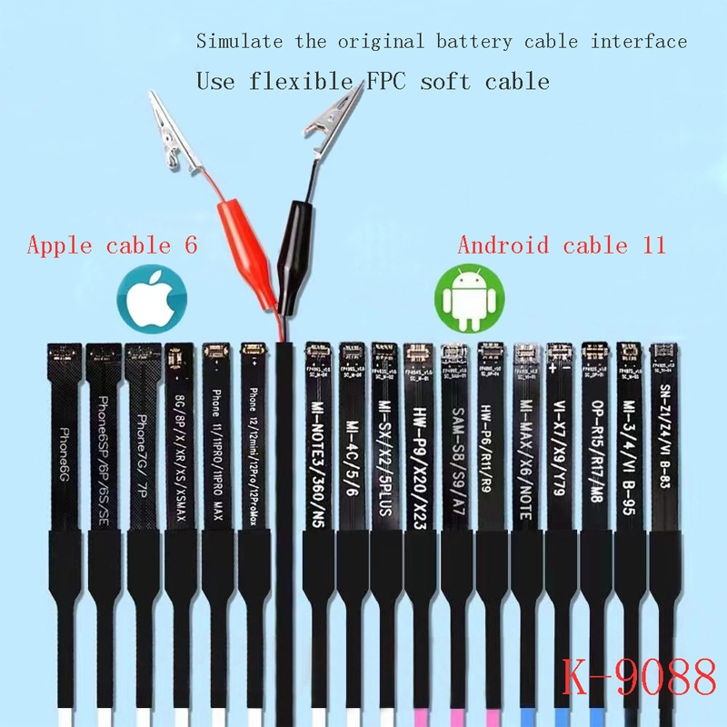 US$ 29.84 - Kaisi K-9088 Mobile Phone Repairing Power Supply Cable For Android And Apple iPhone SE 6G to 12Promax - www.phonefixparts.com