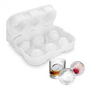Ice Cube Tray, Vogek Sphere Ice Cube Mold Ball Maker with Lid Silicone BPA Fee Mould for Whiskey Cocktail Water and Drinks, 6 X 4.7cm, White