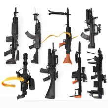 8Pcs/set 1:6 4D Gun Model Plastic Assembling Firearms AK47 MG42 Machine Gun M16 Rifle Submachine Guns Classic Assemble Toy