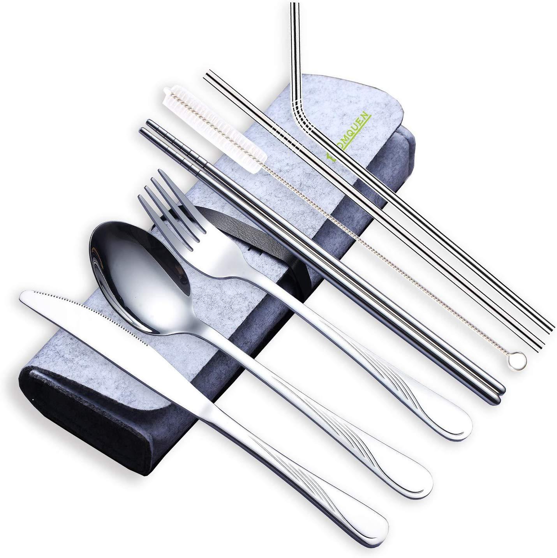 Stainless Stee Flatware set, NUMARDA 9-Piece Portable Utensils,Travel Camping Cutlery Set Camping Utensils Set Carbon Black Product and Medium Gray Bag Travel Utensils