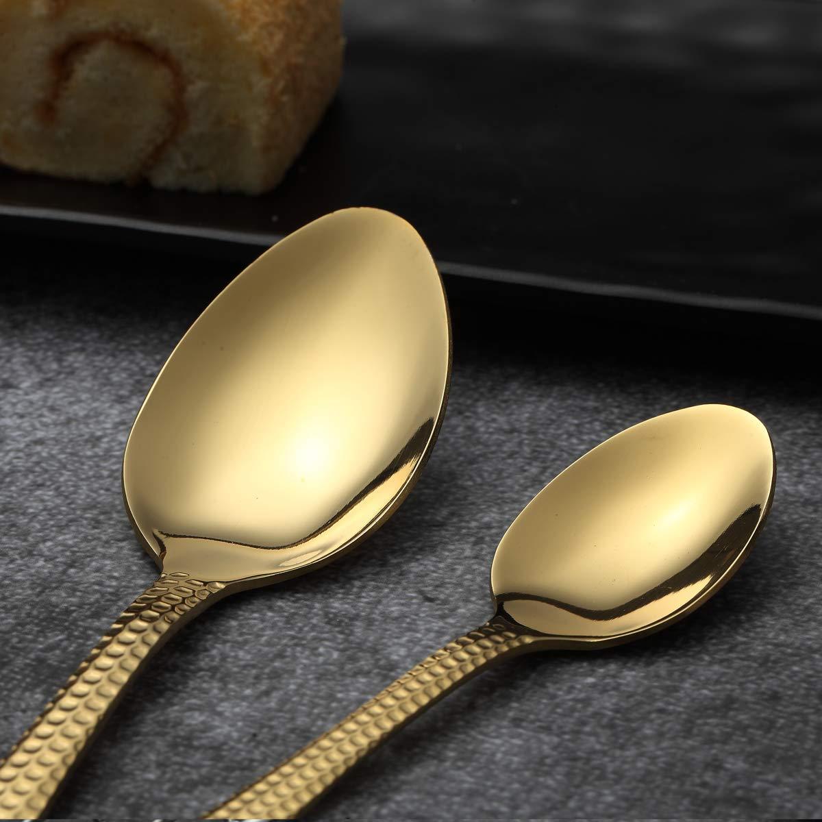 Golden Cutlery Set shiny Gold Service for 4 Berglander 20 Piece Titanium Gold Plated Stainless Steel Flatware Set 20 Pieces Golden Silverware Set