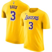 Men's Los Angeles Lakers Anthony Davis Yellow Name & Number Performance T-Shirt