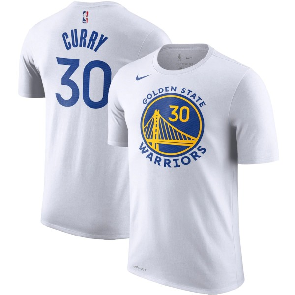 Men's Golden State Warriors Stephen Curry White Player Name & Number Performance T-Shirt