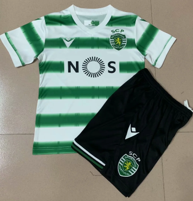 Sporting Lisbon 20/21 Home Soccer Jersey and Short Kit