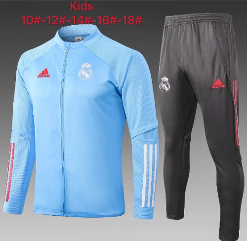 Real Madrid 20/21 Kids Jacket and Pants Light Blue -E483