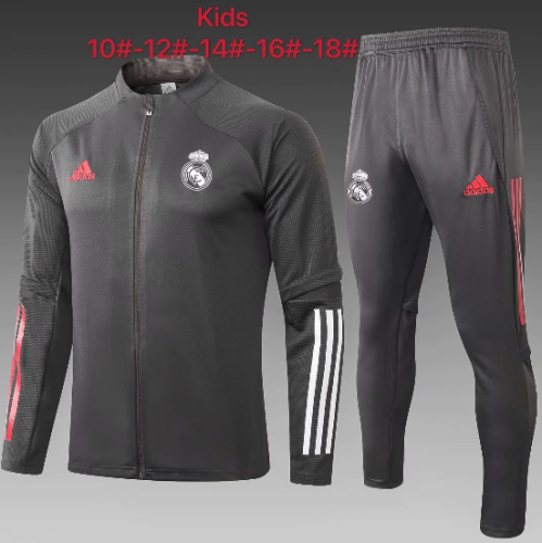 Real Madrid 20/21 Kids Jacket and Pants Dark Gray -E479