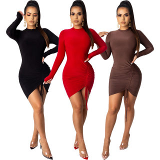 Wholesale Price Solid Color Bodycon Pleated Long Sleeve Mini Dress ML7273