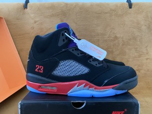 Authentic Air Jordan 5  Black/Purple/Red