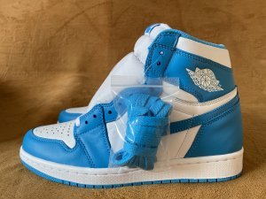 Authentic Air Jordan 1  White/DK Powder blue