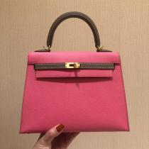real shot  elegant hermes kelly25 replica handbag EPSON leather lightweight scratch-proof golden hardware  pure hand-made wax thread sewing