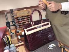 real shot hermes birkinn30 replica handbag crocodile leather scratch-resisted pure hand-made wax-thread sewing