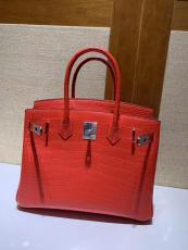 high quaility hermes birkinn30 replica handbag crocodile leather scratch-resisted pure hand-made wax-thread sewing