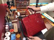 wine red hermes birkinn30 replica handbag crocodile leather scratch-resisted pure hand-made wax-thread sewing