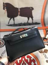 black hermes mini kelly20 replica crossbody handbag in swift leather silver and aureate hardware
