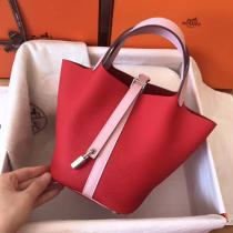 real shot Hermes picotin18/22 lock replica shoulder shopping bag handbag in soft Togo leather pure hand-made wax-thread stiching