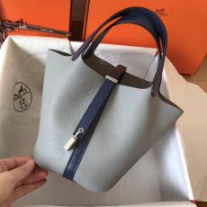real shot Hermes picotin18/22 lock shoulder shopping bag handbag in soft Togo leather pure hand wax-thread stiching