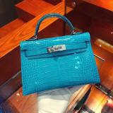 hermes mini kelly20 high-quality replica in alligator leather silver and golden hardware