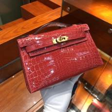 purple hermes mini kelly20 high-quality replica in alligator leather silver and golden hardware