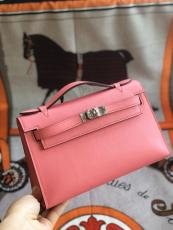 rose pink hermes mini kelly20 replica crossbody handbag in swift leather aureate hardware pure hand wax-thread sewing