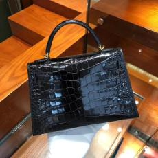 hermes mini kelly20 high-quality replica in alligator leather silver and golden hardware pure hand-made wax-thread sewing