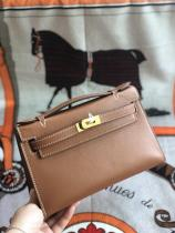 brown hermes mini kelly20 replica crossbody handbag in swift leather aureate hardware