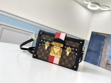 real shot louis Vuitton/LV female petite malle crossbody small square bag free shipping ready stock gold hardware